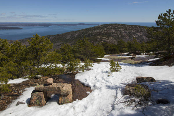 Patches of snow cling to the eastern slope of Dorr Mountain in Acadia National Park on Mount Desert Island, April 9, 2017.