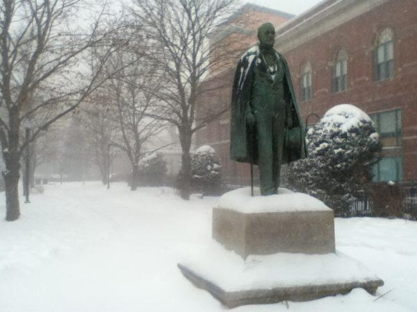 A statue of Hannibal Hamlin is seen in downtown Bangor on Christmas Day as a storm swept across Maine, dropping up to a foot of snow and creating blizzard conditions.