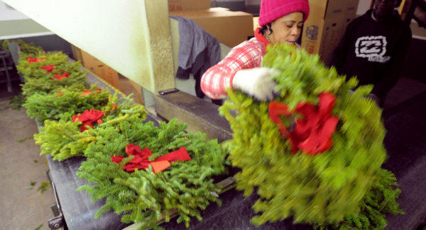 Wreaths made at the Worcester Wreath Co. in Harrington in a file photo.