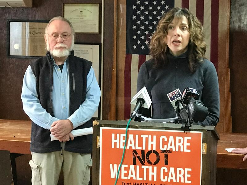 James Betts of Winthrop and Tina Davidson of Portland discuss their reasons for staging a sit-in last week at U.S. Sen. Susan Collins' Bangor office.