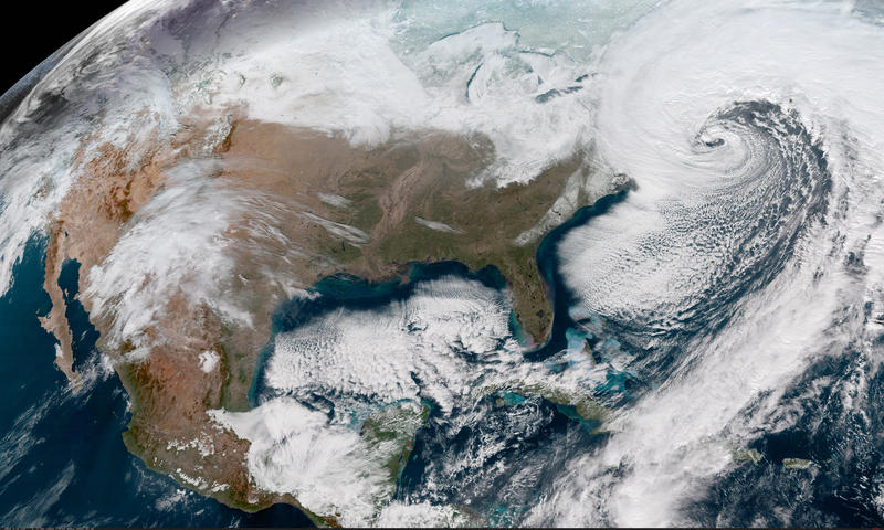 A storm battering Maine and the rest of New England can be seen in the upper right corner of this NOAA satellite image.