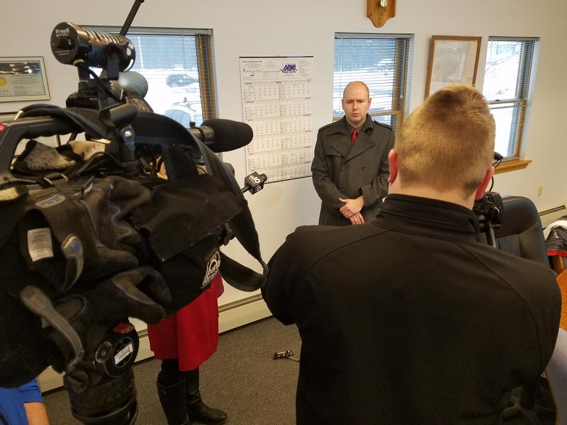 Fired Jackman Town Manager Tom Kawczynski speaks to the media Tuesday morning after his contract was terminated.