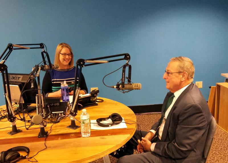Maine Calling host Jennifer Rooks and Gov. Paul LePage on Tuesday.