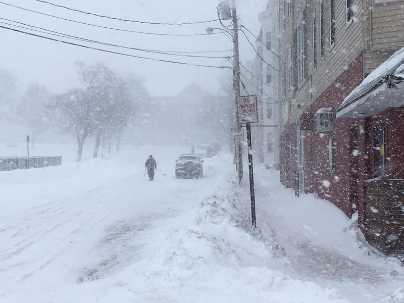 An individual troops through last Thursday's blizzard in downtown Lewiston.