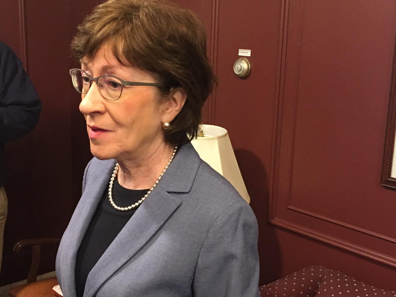 Maine U.S. Sen. Susan Collins, at a press availability in Auburn Friday, reacts to President Trump's vulgar comments about immigrants.