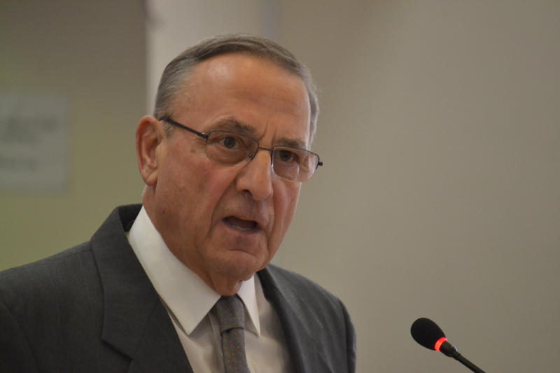 Gov. Paul LePage testifies before the Appropriations Committee on Wednesday.