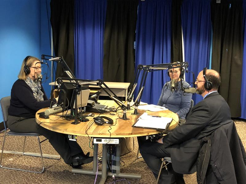 Jennifer Rooks (from left), Amanda Rector and Yellow Light Breen on Maine Calling on Wednesday, Jan. 3, 2018.