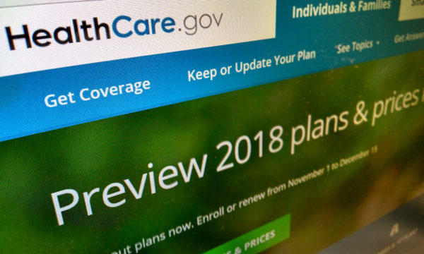 File photo of the healthcare.gov web portal, where people can sign up for coverage under the Affordable Care Act.