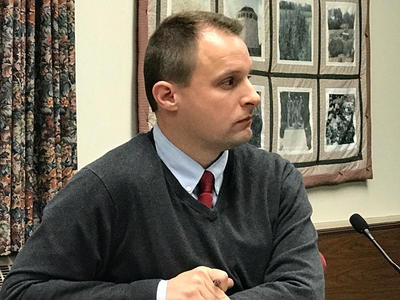 Bangor City Councilor Cary Weston listens to colleagues discuss a possible investigation at a council meeting Jan. 9, 2018..