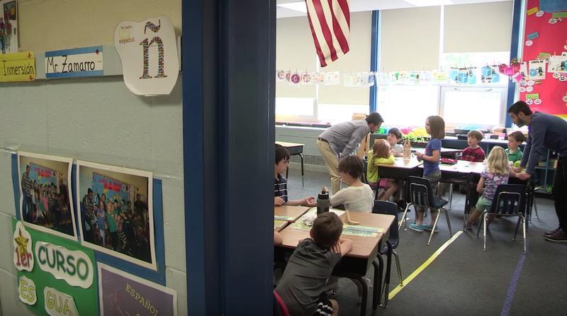 Pedro Zamarro's Spanish immersion first grade class in Portland.