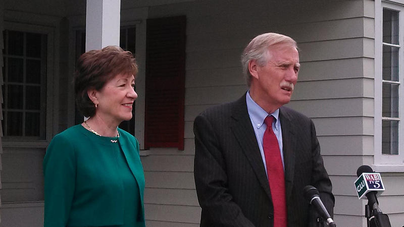Maine U.S. Sens. Susan Collins and Angus King at an event in Brunswick, Maine, May 16, 2014.