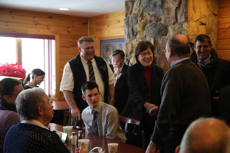 Susan Collins in Jackman on Thursday.