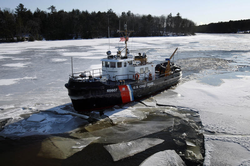 The U.S. Coast Guard cutter Bridle breaks ice in the Kennebec River, Friday, Jan. 29, 2010, in Richmond.