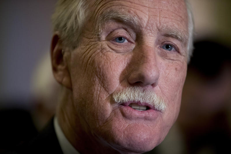 Sen. Angus King, I-Maine, speaks to reporters on Capitol Hill in Washington, Tuesday, Oct. 17, 2017, following Senate policy luncheons.