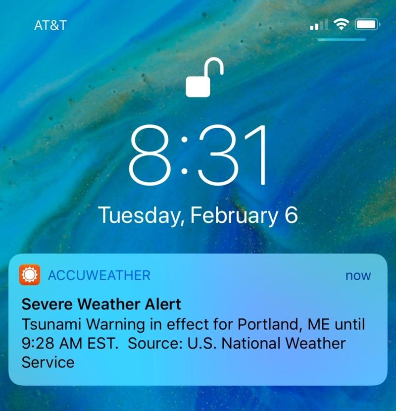 Some people on the East Coast got a push alert on their phones Tuesday, Feb. 6, 2018, about a tsunami warning, but the National Weather Service says it was just a test.
