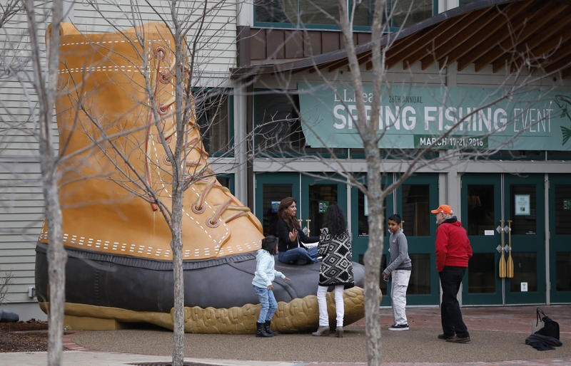 n this Wednesday, March 16, 2016 photo shoppers gather outside the L.L. Bean retail store in Freeport.