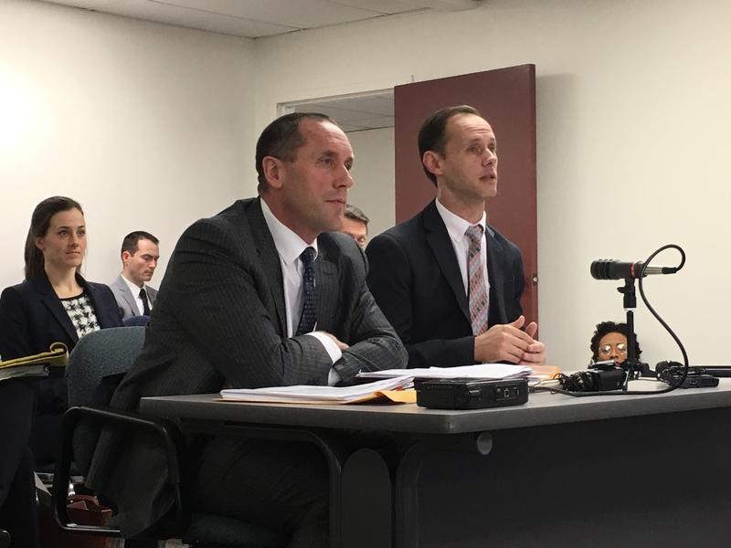 Jason Savage (right), executive director of the Maine Republican Party with attorney Josh Tardy