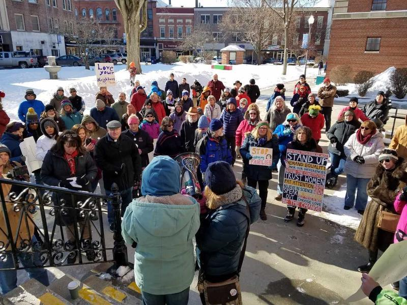 Demonstrators gathered in Waterville earlier this month in support of Saint Martin