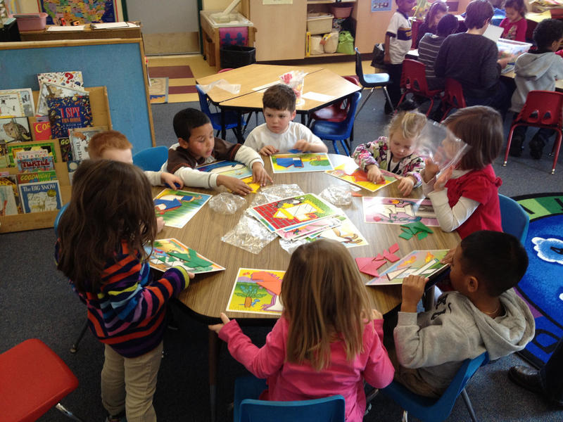Pre-k students work on art projects in this photo taken Jan. 25, 2013