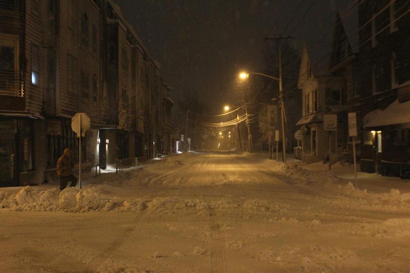 A pedestrian struggles through snow in Portland early Thursday morning.