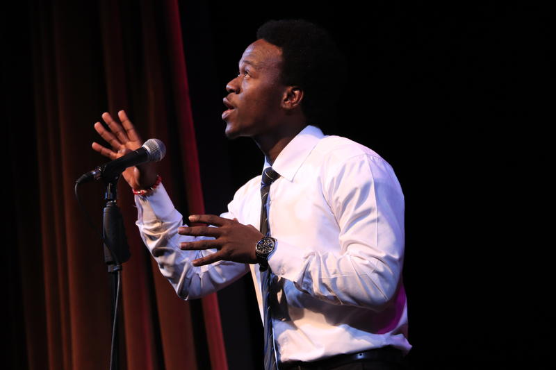 Deering High School junior Allan Monga was chosen the winner in Maine's annual Poetry Out Loud competition.