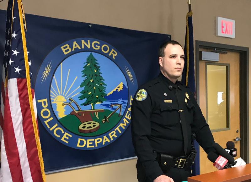 Of the Bangor Police Department meets with reporters to discuss the arrest in the city's Wednesday night double homicide.