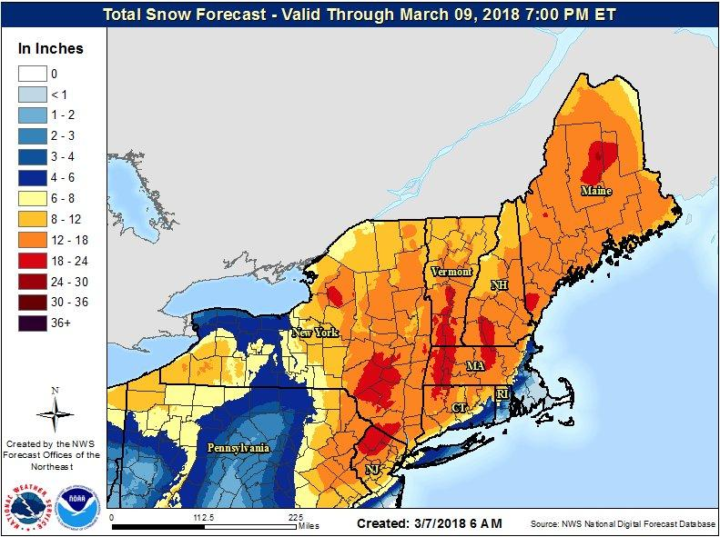 National Weather Service forecasters say 12 to 18 inches of snow will fall in the areas shown in dark orange. The red areas of the map will get between 18 and 24 inches.
