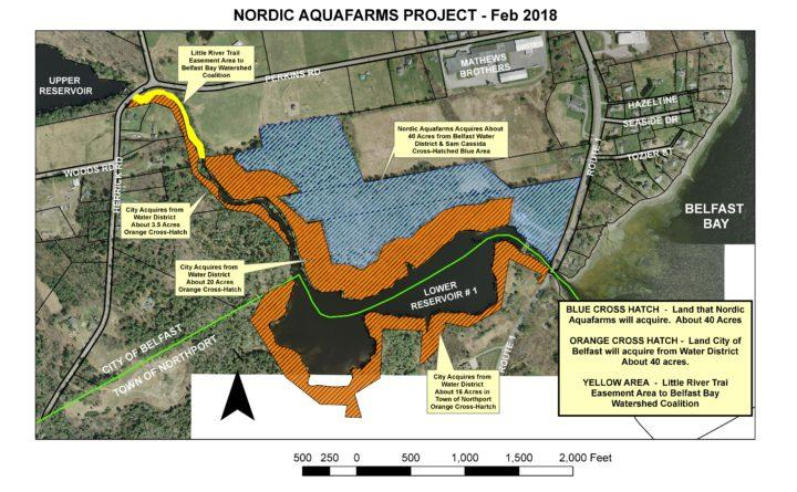 This map shows the land that will change hands as part of a Norwegian aquaculture firm's push to build a $150 million land-based salmon farm in Belfast