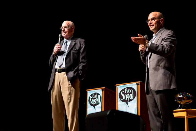 Carl Kasell (left) and Peter Sagal at Merrill Auditorium in Portland in 2012.