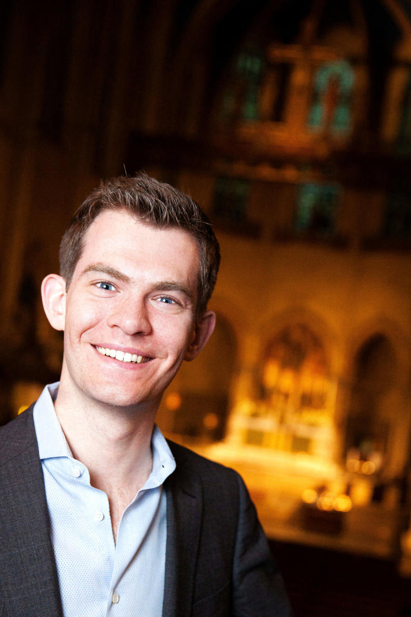 Portland's Municipal Organist, James Kennerley who is a conductor, keyboardist, composer and tenor