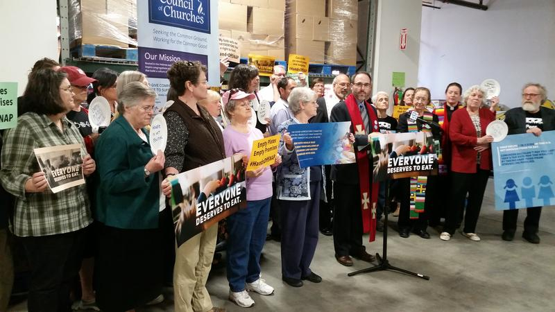Maine religious leaders gather in Portland Tuesday to urge Maine Republican U.S. Rep. Bruce Poliquin to reject the House farm bill.