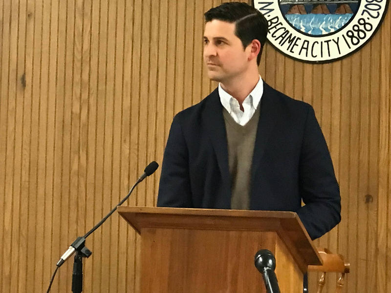 Waterville Mayor Nick Isgro at an April Meeting