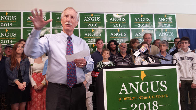 Sen. Angus King announces his bid for re-election at a rally in Brunswick Thursday..