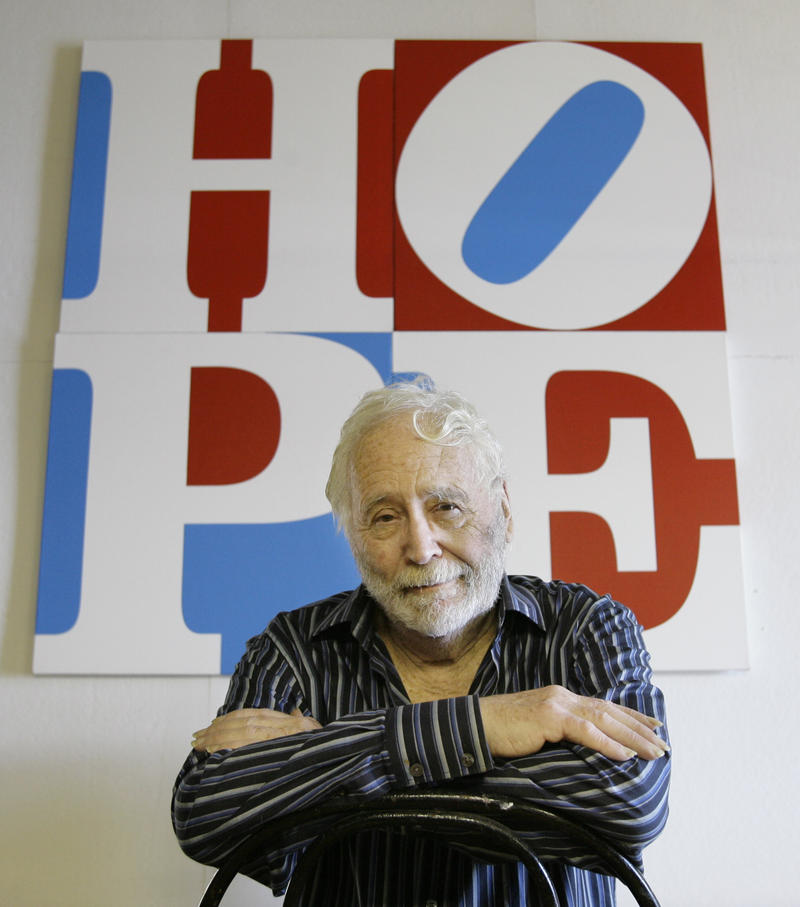 Artist Robert Indiana poses Thursday, Aug. 29, 2008 at his studio in Vinalhaven, Maine. Indiana, who in the 1960s created the pop icon LOVE, now has created a similar image with HOPE, with proceeds going to Barack Obama's presidential campaign.