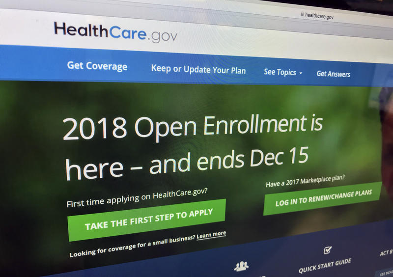 The HealthCare.gov website is photographed in Washington on Dec. 15, 2017. A burst of sign-ups is punctuating the end of a tumultuous year for former President Barack Obama's health care law.