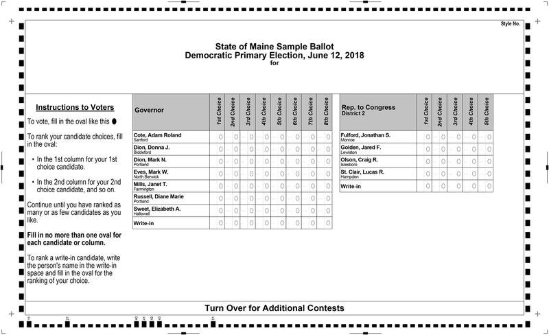 A sample primary ballot from shows Democratic races for governor and Maine's 2nd District congressional seat.