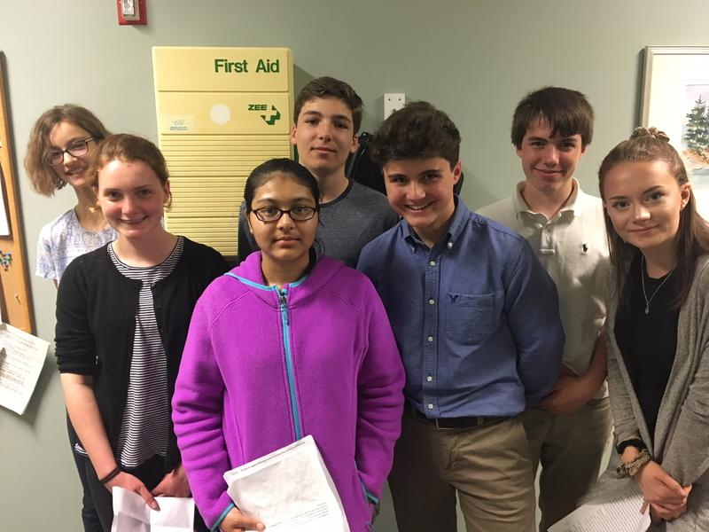Anna Siegel (from left), Devyn Shaughnessy, Asfia Jawedi, Thomas Johnson, Lance Dinino, Hunter LaChance and Ruth Metcalfe