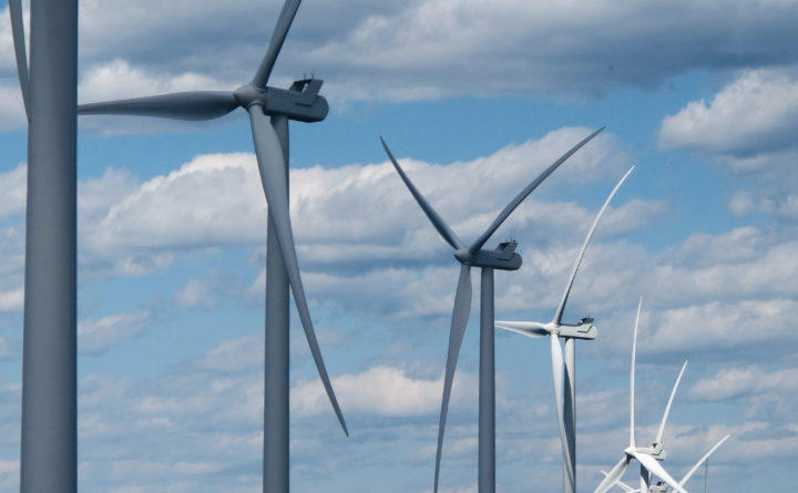 Blades on wind turbines nearly 500 feet tall rotate in the breeze in unorganized territory in eastern Hancock County, Maine on Monday, May 21, 2018.