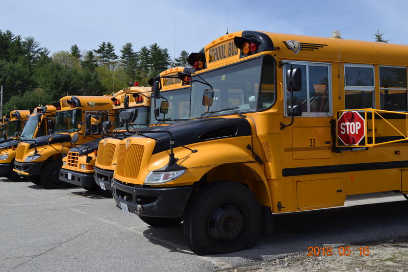 School buses with slashed tires parked in Poland, Me Wednesday morning