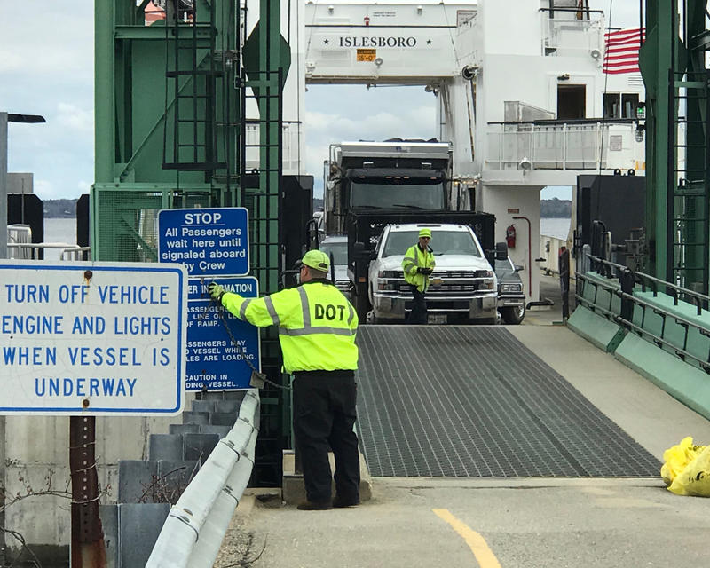 The state ferry Margaret Chase Smith prepares to disembark passengers and vehicles at Islesboro recently.