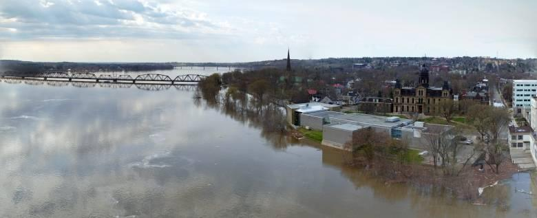 An aerial view of the flooding in Fredericton. On Friday, water levels along parts of the St. John River dipped below flood level for the first time in two weeks
