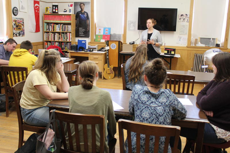 History Teacher Erin Fitts teaching a class of high schoolers at Maine Central Institute in Pittsfield, Maine