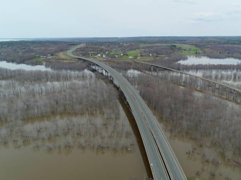 An aerial view of the closed Trans-Canada Highway, between Gagetown and Jemseg, on May 6