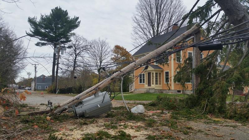A broken pole and downed wires following Oct. Storm