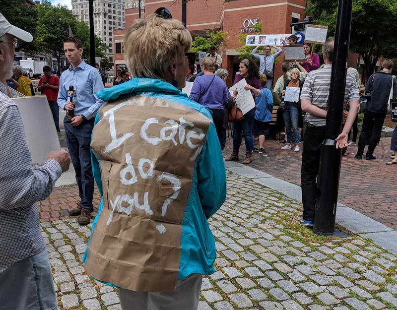A protester in Portland modified her jacket so it looks similar to a controversial one worn by Melania Trump last week, but with a very different message.