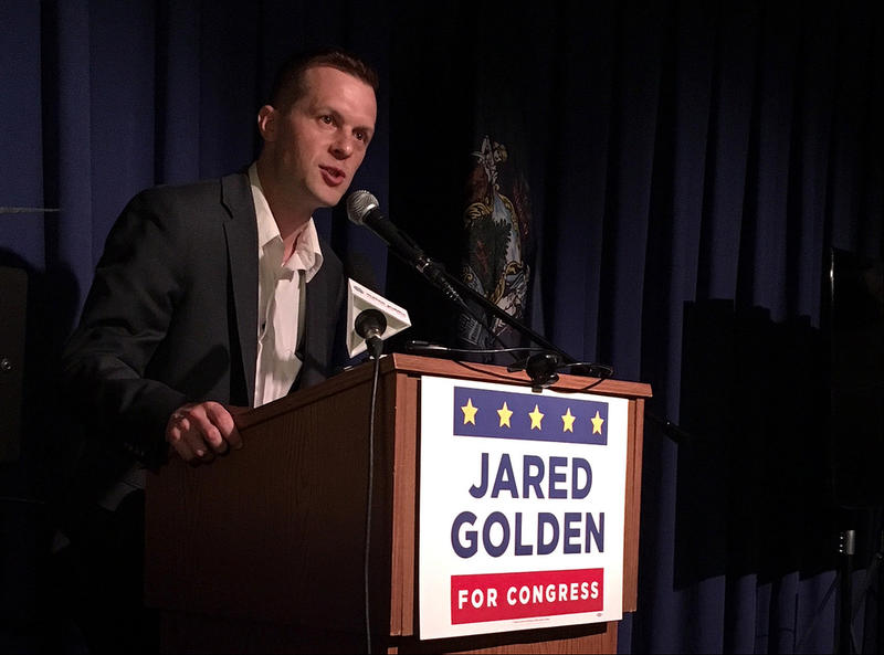 Jared Golden addresses supporters Tuesday night.
