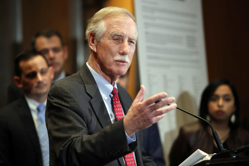 Sen. Angus King, I-Maine, speaks about immigration and the Deferred Action for Childhood Arrivals (DACA) program Wednesday, Feb. 7, 2018, on Capitol Hill in Washington.