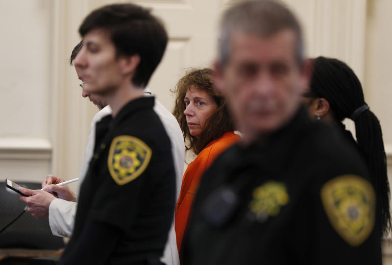 Carol Sharrow, of Sanford, Maine, stands for her arraignment on manslaughter charges at the York County Superior Court in Alfred, Maine, Monday, June 4, 2018.