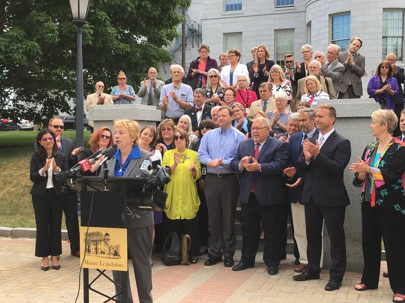 Maine Democrats rallied at the State House Thursday to show support for their nominee for governor, Attorney General Janet Mills.