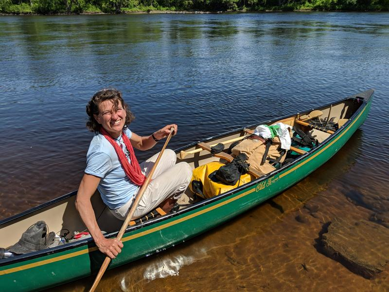 Jen Deraspe, who solo paddled the Androscoggin and documented the condition of the river